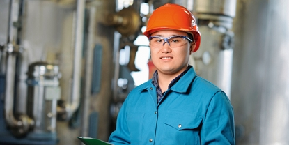 Close up picture of an engineer in a chemical plant